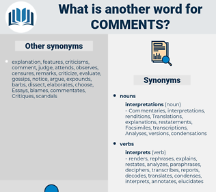comments, synonym comments, another word for comments, words like comments, thesaurus comments