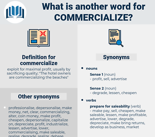 commercialize, synonym commercialize, another word for commercialize, words like commercialize, thesaurus commercialize