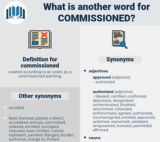 commissioned, synonym commissioned, another word for commissioned, words like commissioned, thesaurus commissioned