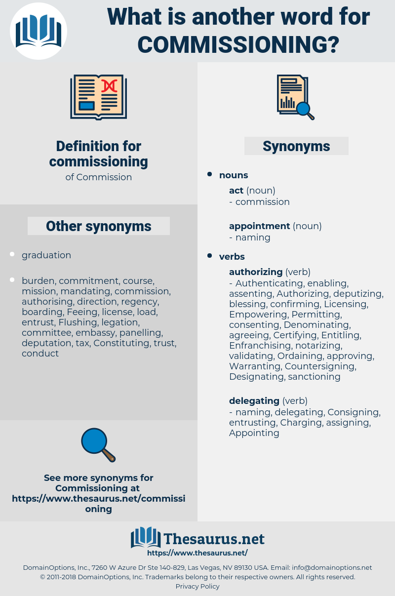 commissioning, synonym commissioning, another word for commissioning, words like commissioning, thesaurus commissioning