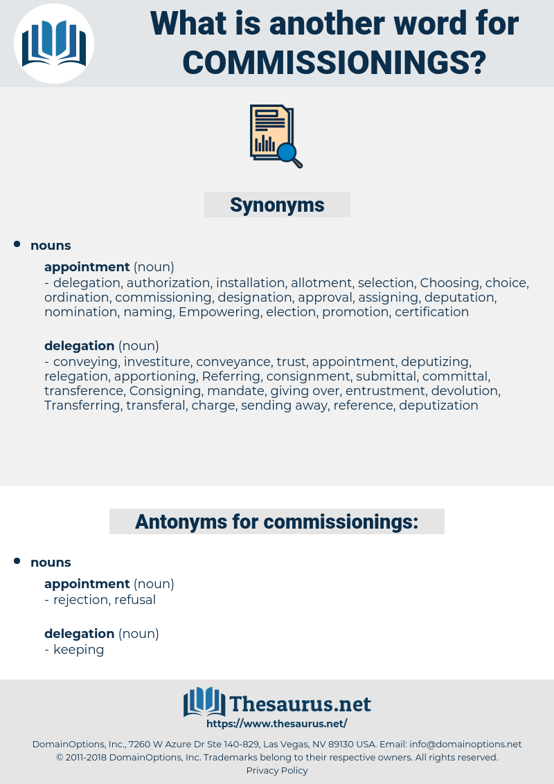 commissionings, synonym commissionings, another word for commissionings, words like commissionings, thesaurus commissionings