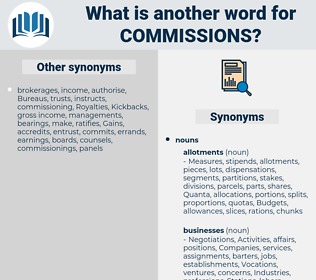 commissions, synonym commissions, another word for commissions, words like commissions, thesaurus commissions