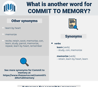 commit to memory, synonym commit to memory, another word for commit to memory, words like commit to memory, thesaurus commit to memory
