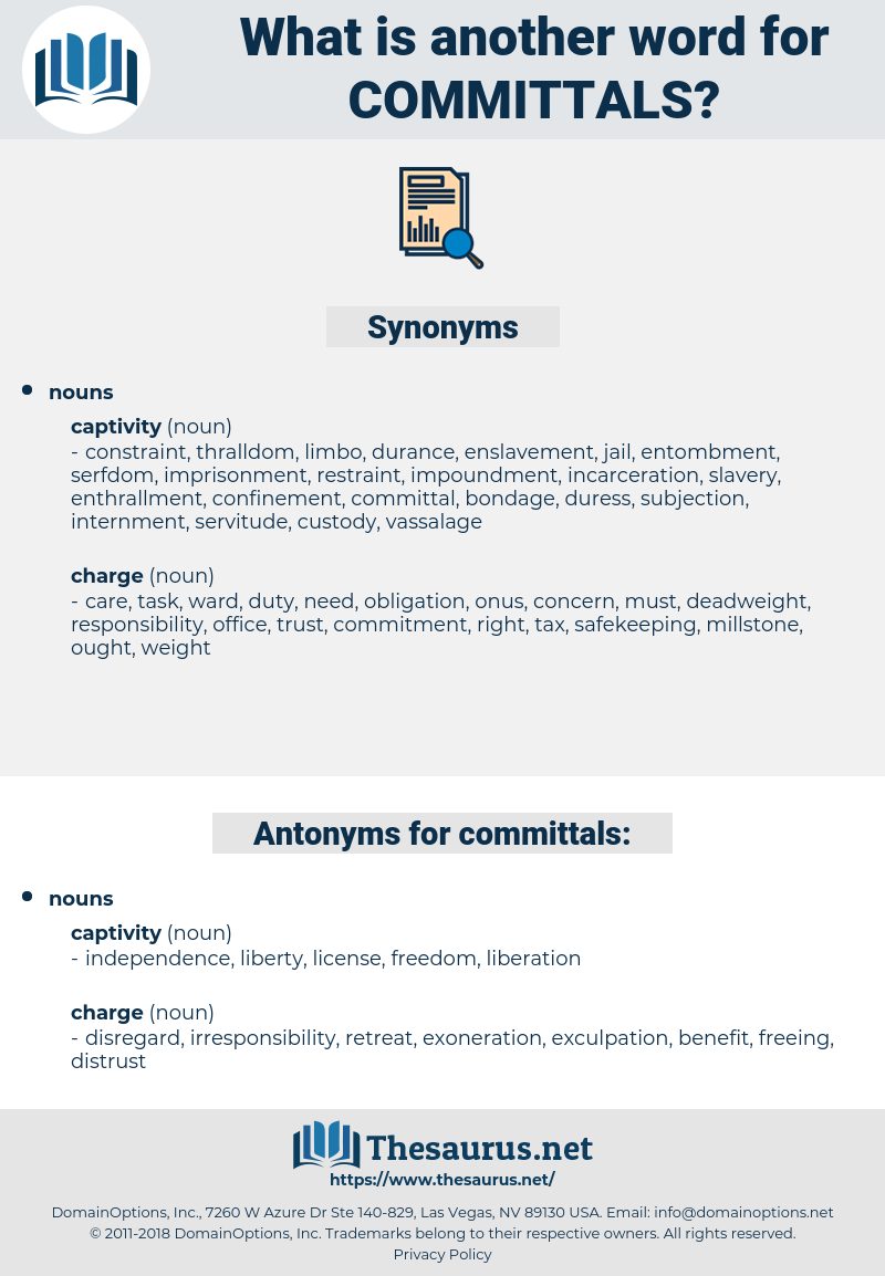 committals, synonym committals, another word for committals, words like committals, thesaurus committals