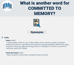 committed to memory, synonym committed to memory, another word for committed to memory, words like committed to memory, thesaurus committed to memory