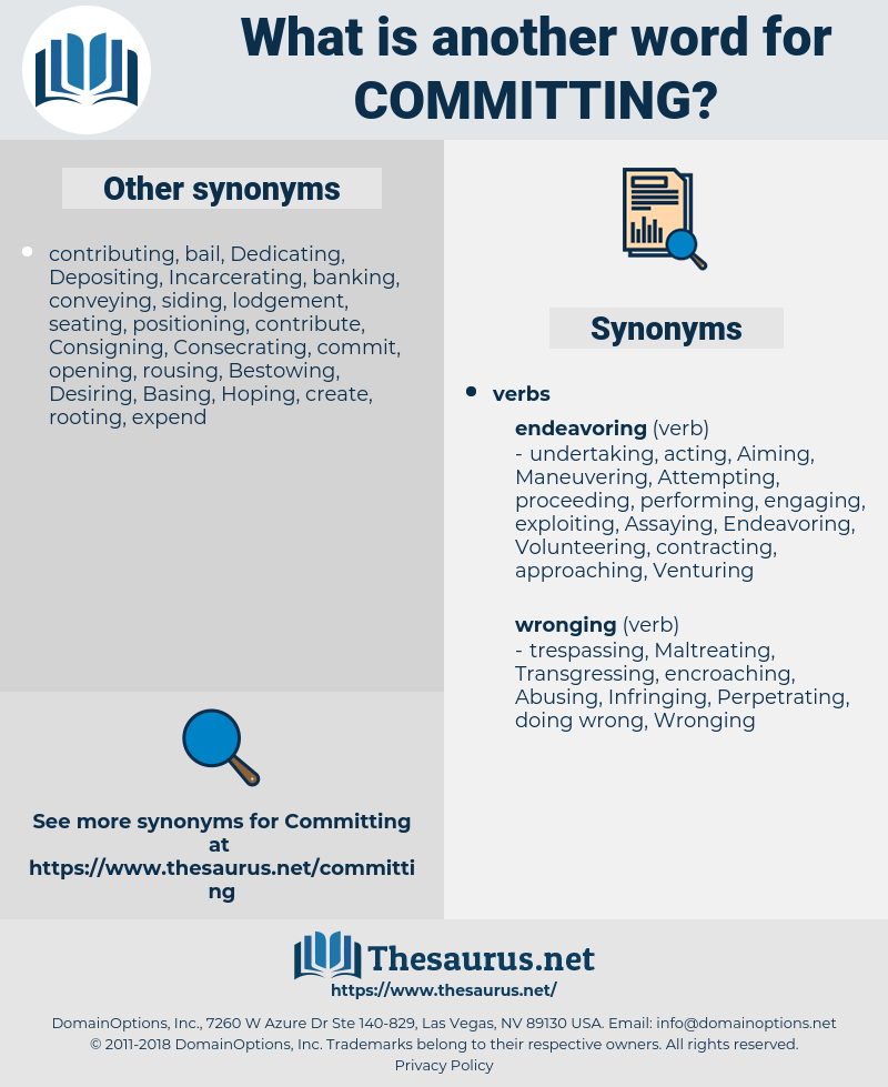 Committing, synonym Committing, another word for Committing, words like Committing, thesaurus Committing