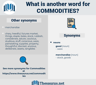Commodities, synonym Commodities, another word for Commodities, words like Commodities, thesaurus Commodities
