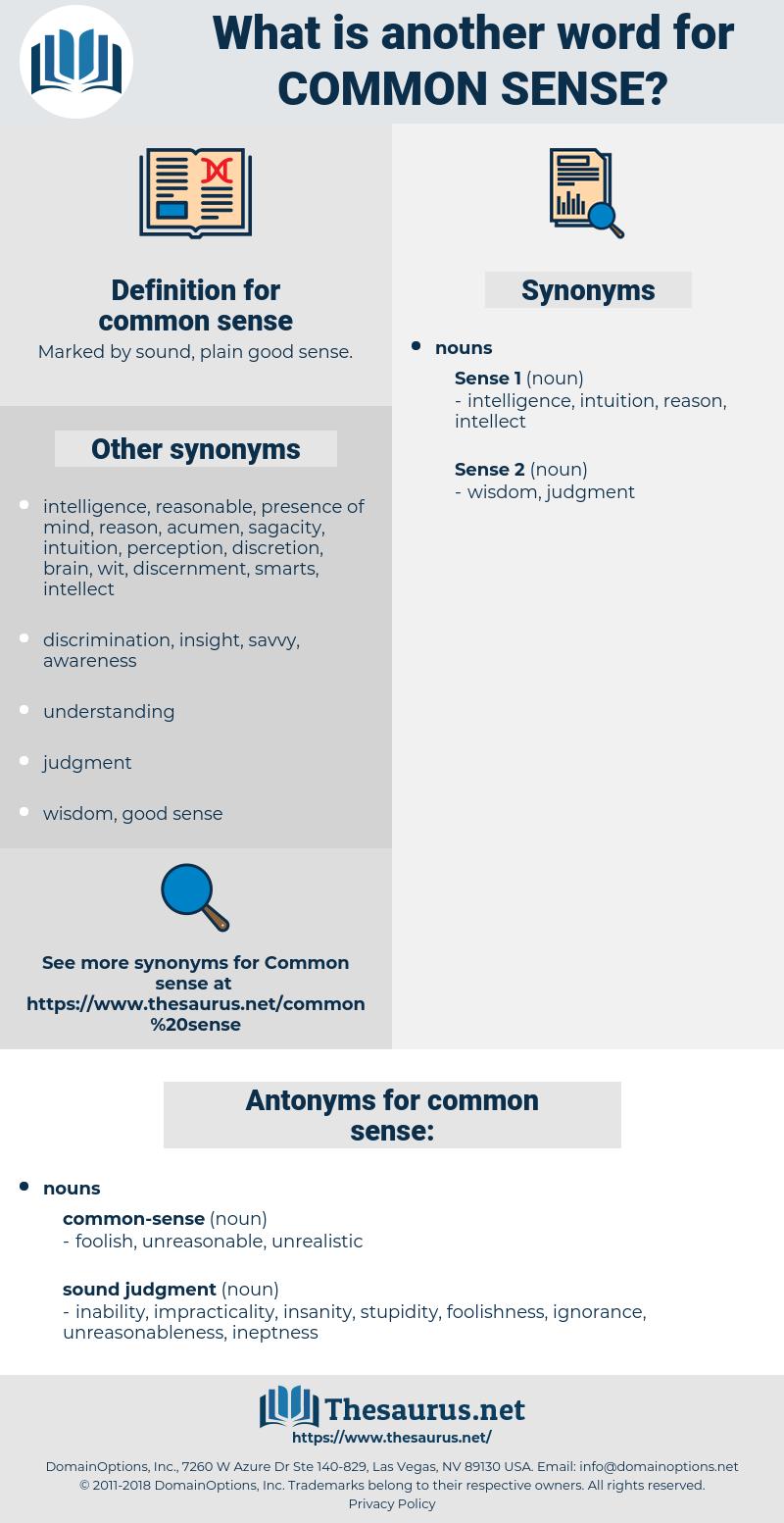common sense, synonym common sense, another word for common sense, words like common sense, thesaurus common sense