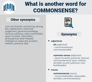 commonsense, synonym commonsense, another word for commonsense, words like commonsense, thesaurus commonsense