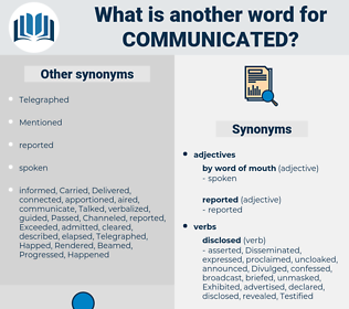 Communicated, synonym Communicated, another word for Communicated, words like Communicated, thesaurus Communicated
