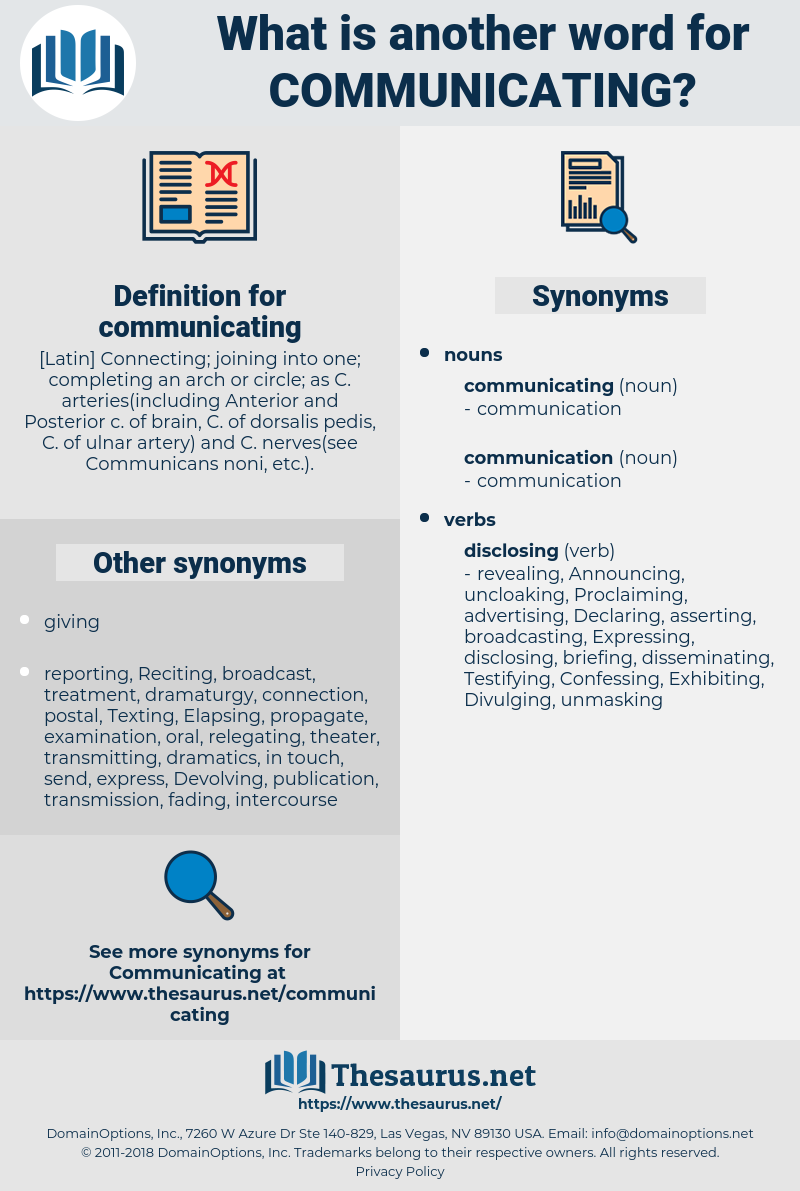 communicating, synonym communicating, another word for communicating, words like communicating, thesaurus communicating