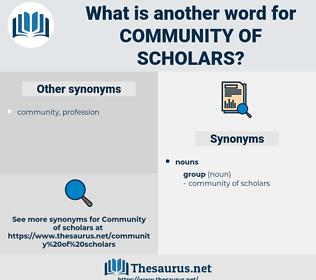 community of scholars, synonym community of scholars, another word for community of scholars, words like community of scholars, thesaurus community of scholars