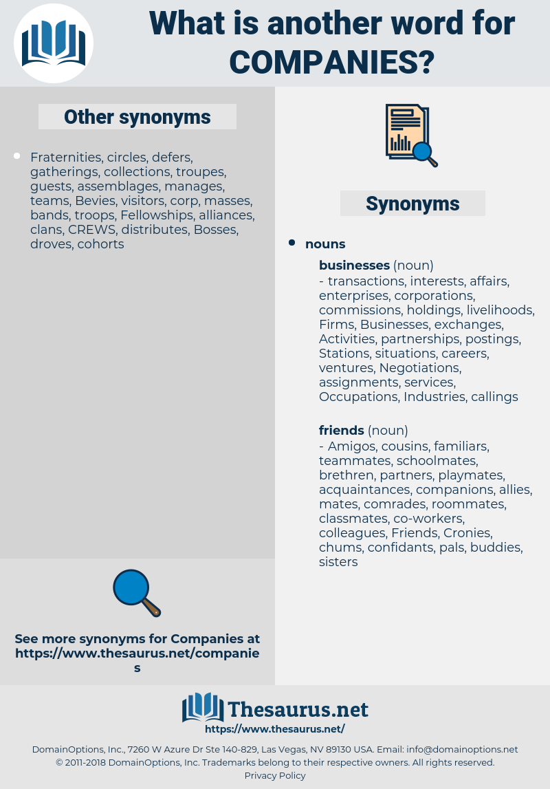 Companies, synonym Companies, another word for Companies, words like Companies, thesaurus Companies