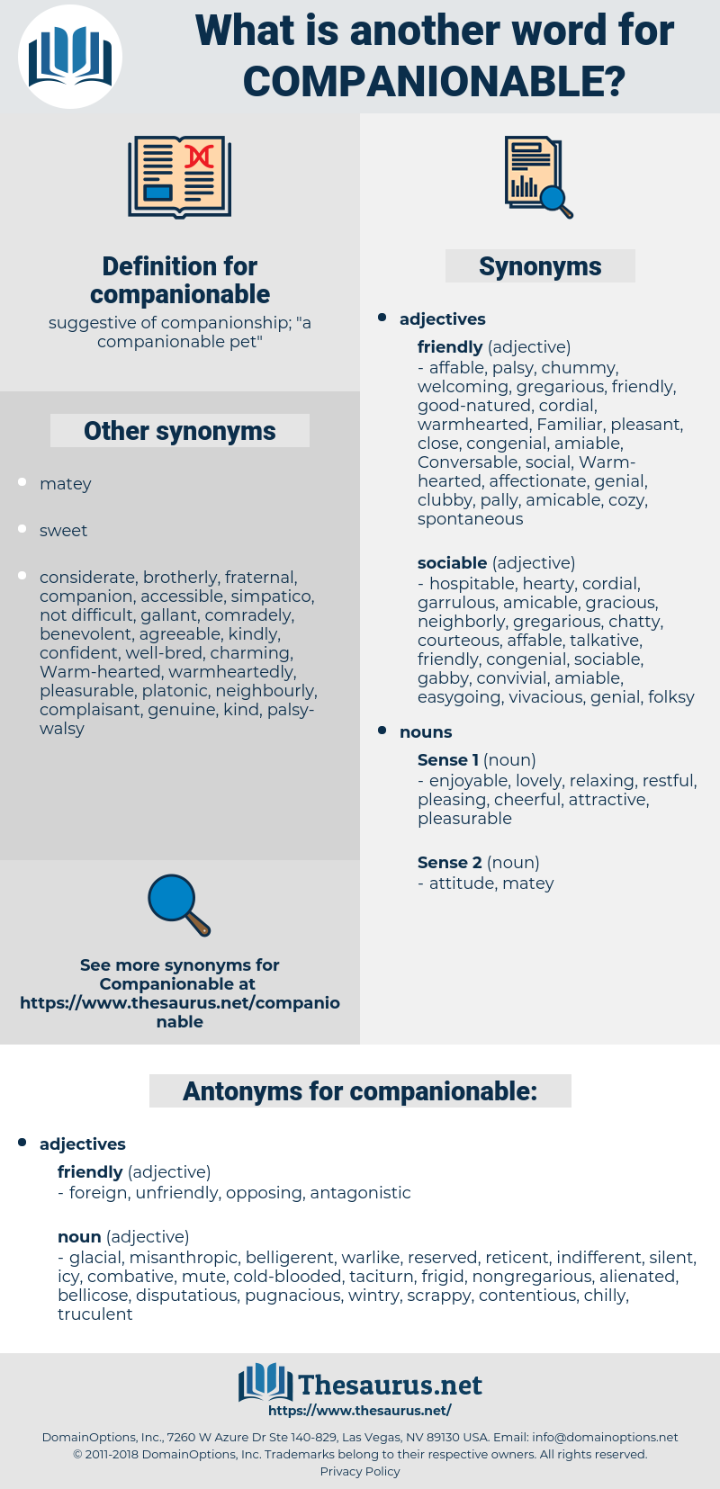 companionable, synonym companionable, another word for companionable, words like companionable, thesaurus companionable
