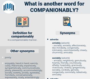 companionably, synonym companionably, another word for companionably, words like companionably, thesaurus companionably