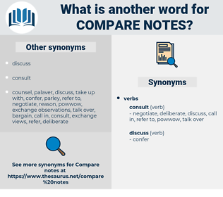 compare notes, synonym compare notes, another word for compare notes, words like compare notes, thesaurus compare notes