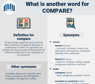 compare, synonym compare, another word for compare, words like compare, thesaurus compare