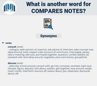 compares notes, synonym compares notes, another word for compares notes, words like compares notes, thesaurus compares notes