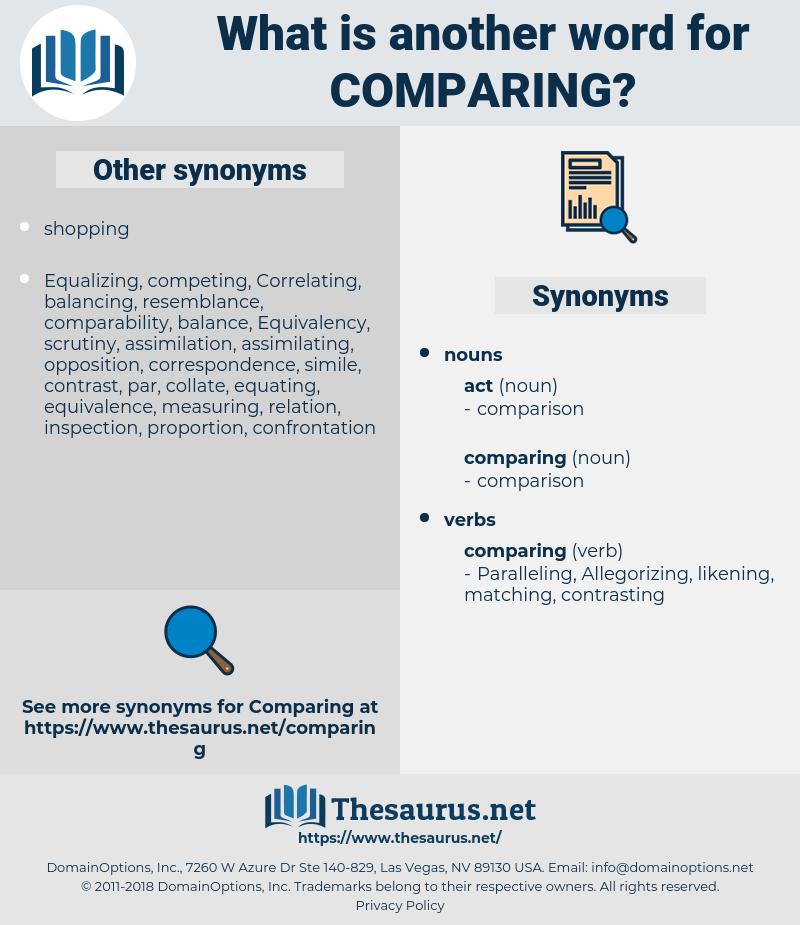 comparing, synonym comparing, another word for comparing, words like comparing, thesaurus comparing