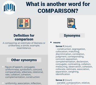comparison, synonym comparison, another word for comparison, words like comparison, thesaurus comparison