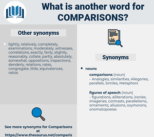 comparisons, synonym comparisons, another word for comparisons, words like comparisons, thesaurus comparisons