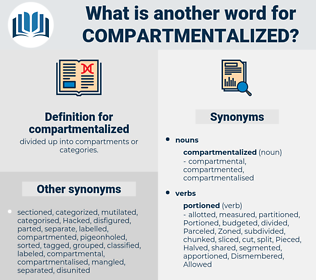 compartmentalized, synonym compartmentalized, another word for compartmentalized, words like compartmentalized, thesaurus compartmentalized