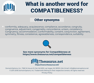 Compatibleness, synonym Compatibleness, another word for Compatibleness, words like Compatibleness, thesaurus Compatibleness