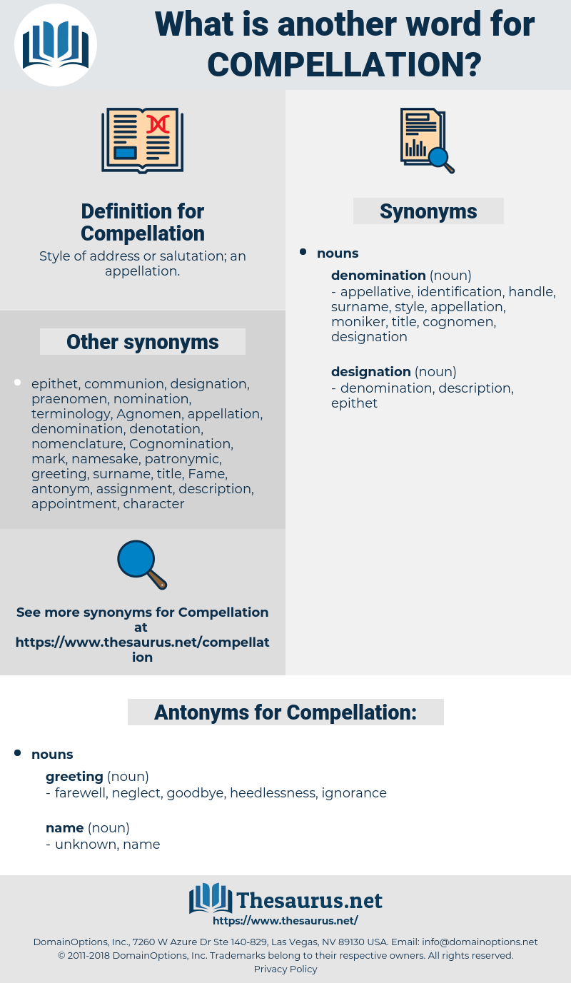 Compellation, synonym Compellation, another word for Compellation, words like Compellation, thesaurus Compellation