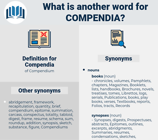 Compendia, synonym Compendia, another word for Compendia, words like Compendia, thesaurus Compendia