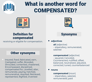 compensated, synonym compensated, another word for compensated, words like compensated, thesaurus compensated
