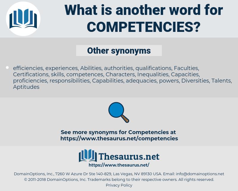 competencies, synonym competencies, another word for competencies, words like competencies, thesaurus competencies