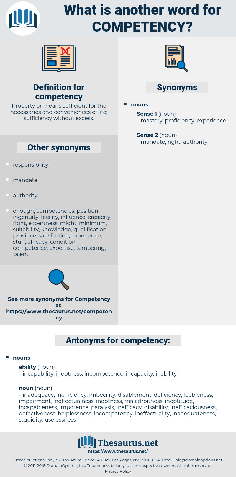 competency, synonym competency, another word for competency, words like competency, thesaurus competency
