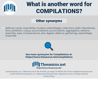 compilations, synonym compilations, another word for compilations, words like compilations, thesaurus compilations