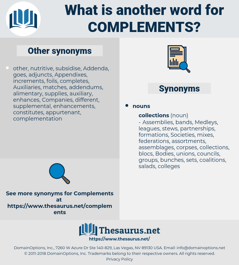 complements, synonym complements, another word for complements, words like complements, thesaurus complements