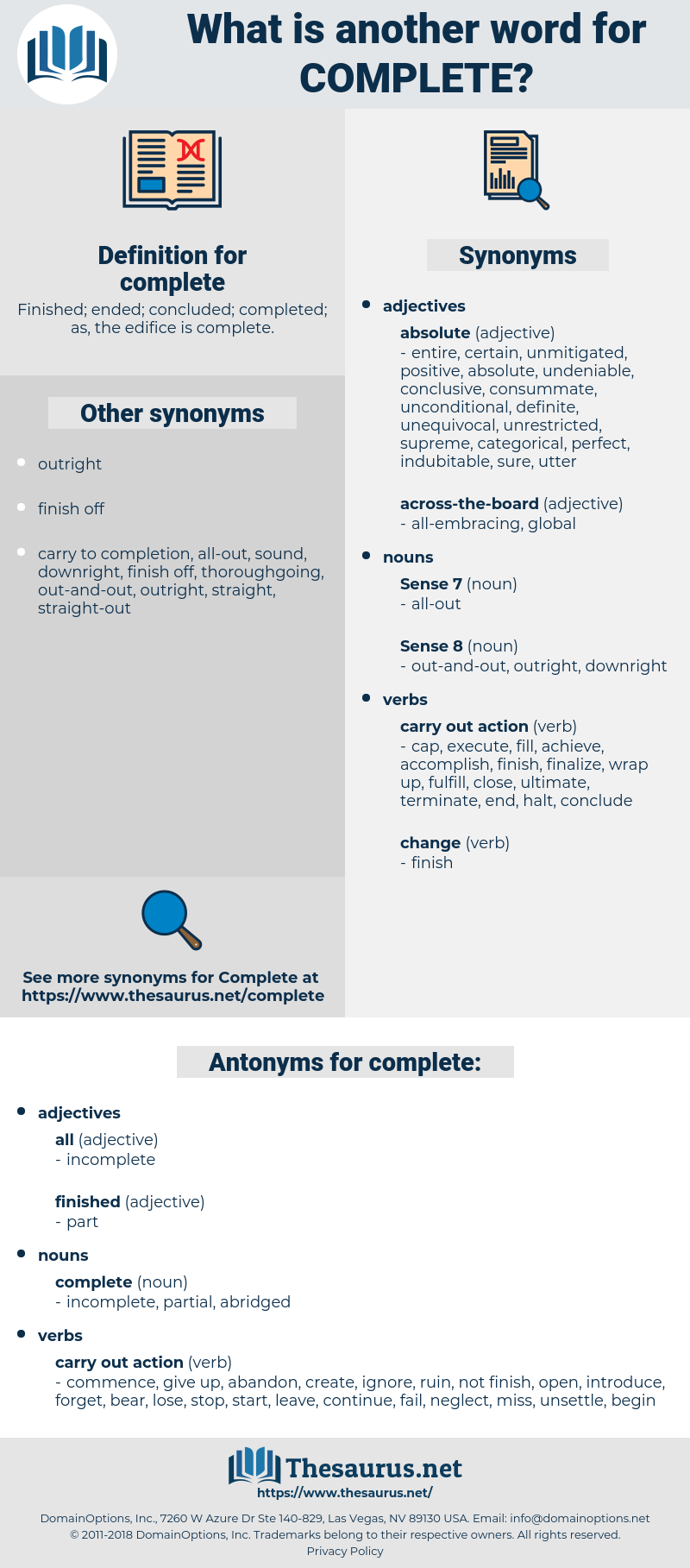 Synonyms for COMPLETE, Antonyms for COMPLETE - Thesaurus.net
