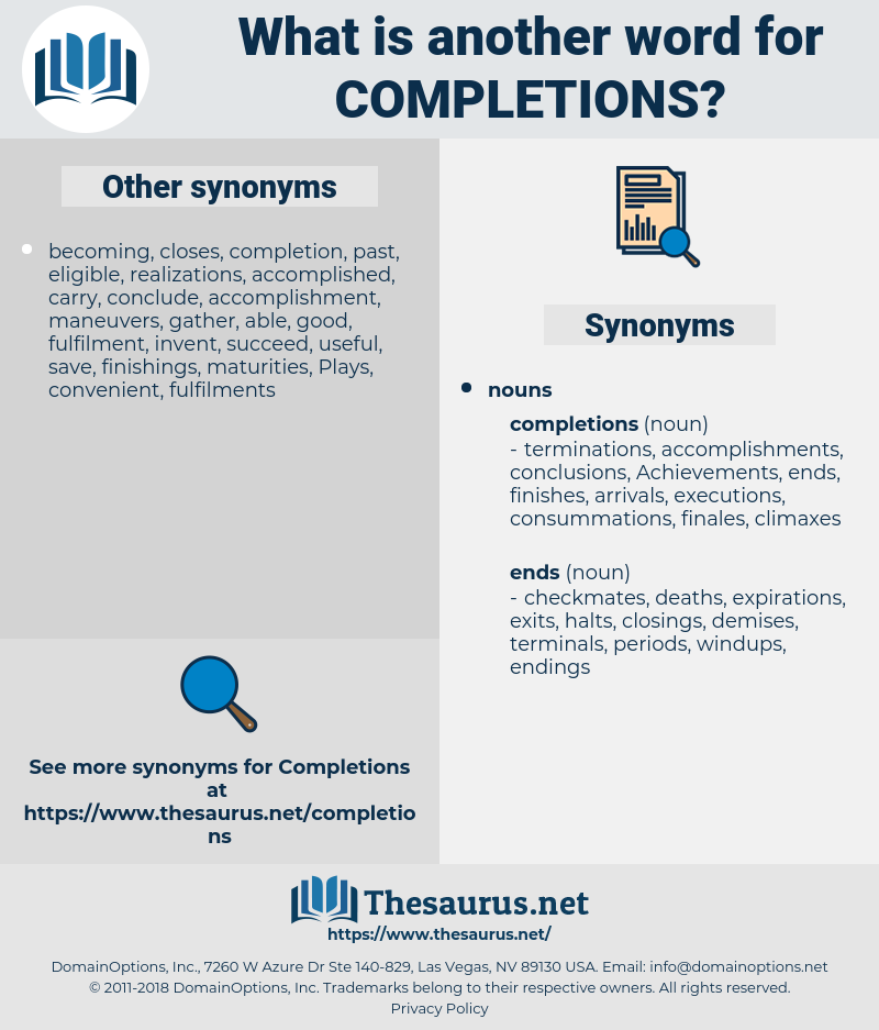 completions, synonym completions, another word for completions, words like completions, thesaurus completions