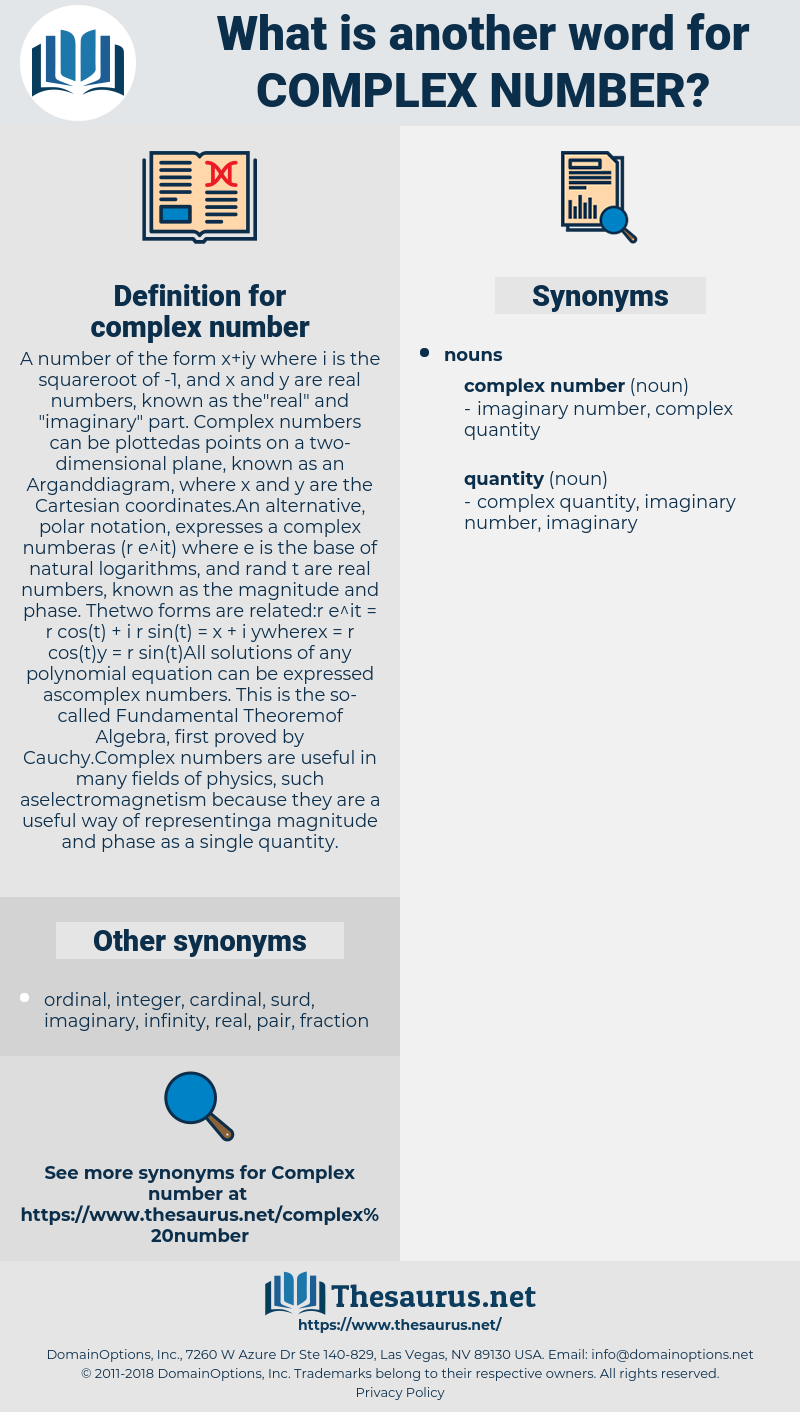 complex number, synonym complex number, another word for complex number, words like complex number, thesaurus complex number