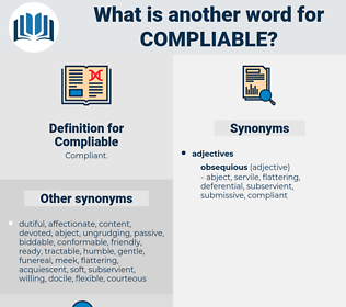 Compliable, synonym Compliable, another word for Compliable, words like Compliable, thesaurus Compliable