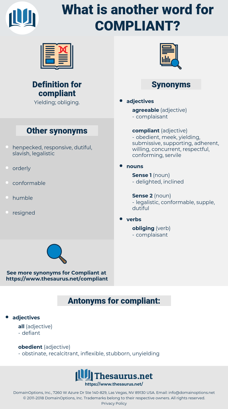 compliant, synonym compliant, another word for compliant, words like compliant, thesaurus compliant