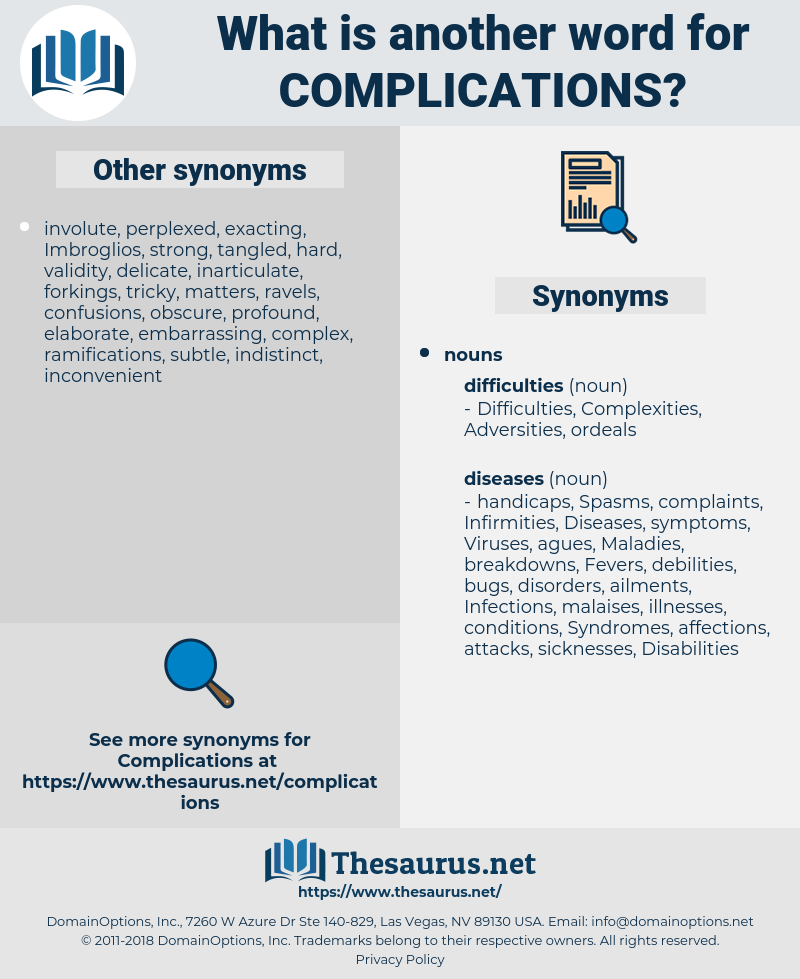 complications, synonym complications, another word for complications, words like complications, thesaurus complications