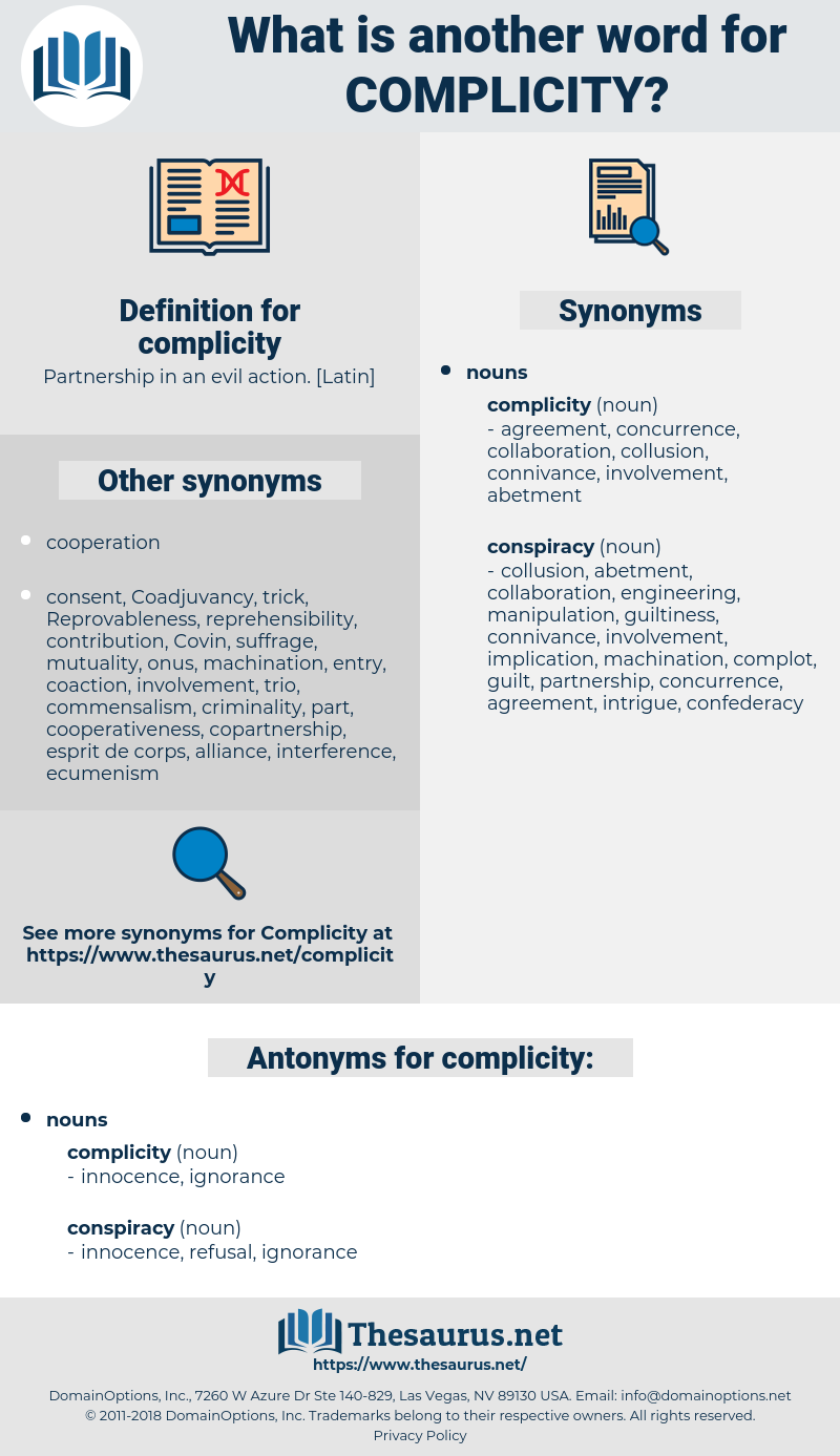 complicity, synonym complicity, another word for complicity, words like complicity, thesaurus complicity