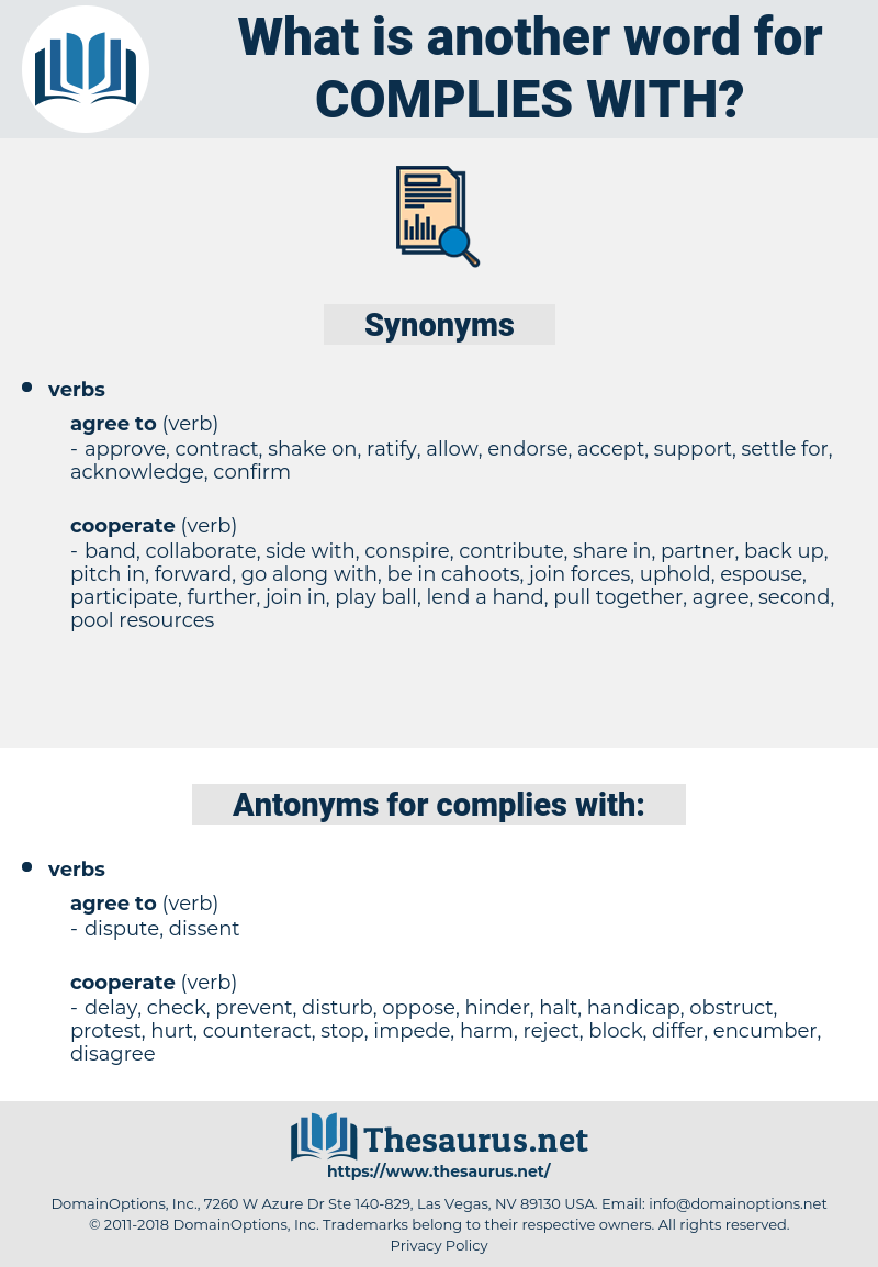 complies with, synonym complies with, another word for complies with, words like complies with, thesaurus complies with