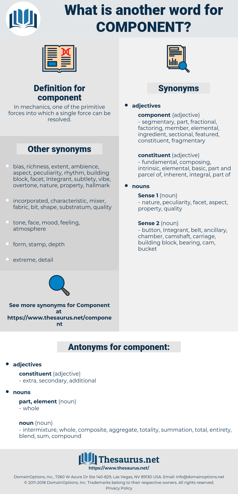 component, synonym component, another word for component, words like component, thesaurus component