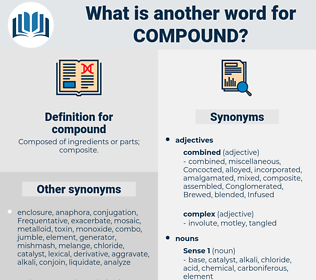 compound, synonym compound, another word for compound, words like compound, thesaurus compound