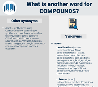 compounds, synonym compounds, another word for compounds, words like compounds, thesaurus compounds