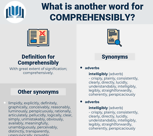 Comprehensibly, synonym Comprehensibly, another word for Comprehensibly, words like Comprehensibly, thesaurus Comprehensibly