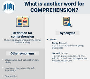 comprehension, synonym comprehension, another word for comprehension, words like comprehension, thesaurus comprehension