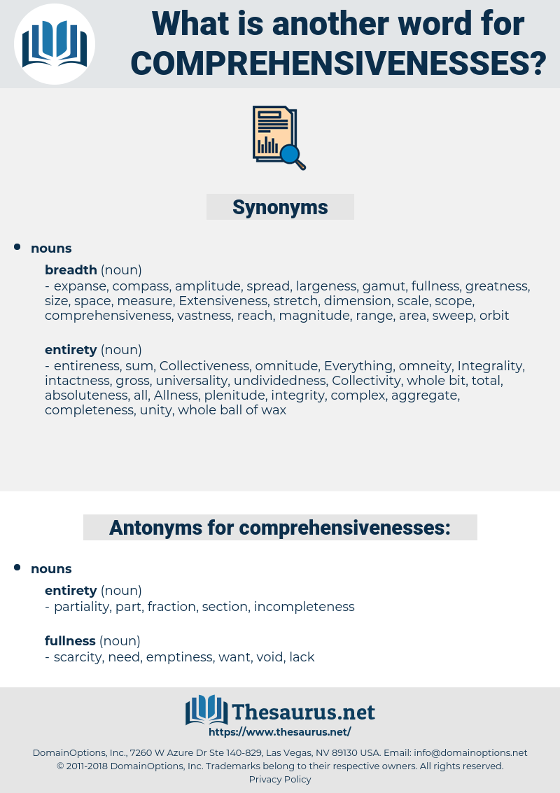 comprehensivenesses, synonym comprehensivenesses, another word for comprehensivenesses, words like comprehensivenesses, thesaurus comprehensivenesses