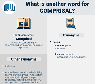 Comprisal, synonym Comprisal, another word for Comprisal, words like Comprisal, thesaurus Comprisal