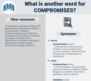 compromises, synonym compromises, another word for compromises, words like compromises, thesaurus compromises